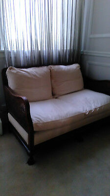 Edwardiian Bergere cane 2 seater upholstered settee