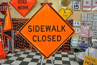 """Sidewalk Closed Fluorescent Vinyl With Ribs Road Sign 48"""" X 48"""""""
