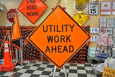 """Utility Work Ahead Fluorescent Vinyl With Ribs Road Sign 48"""" X 48"""""""