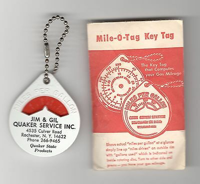 Gas Oil Advertising Fob Keychain  Quaker Gas  Rochester  Mile O Tag  Envelope
