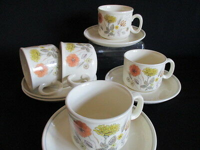 Vintage J&G Meakin Trend HEDGEROW 5 Tea cups and saucers
