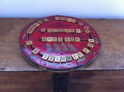 ANTIQUE CHILDS WOODEN CRESS EDUCATIONAL SPELLING BOARD c.1916 - 10 inches