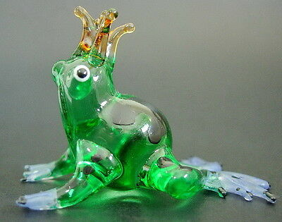 Glass FROG TOAD Green Black Painted Curio Display Glass Ornament Glass Animal