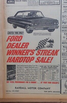 1964 newspaper ad for Ford -  Galaxie 500/XL 2-door, Big Record of Competition