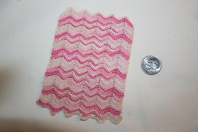 Miniature Dollhouse Hand Crocheted Variegated Pink/White Chevron Baby Blanket NR