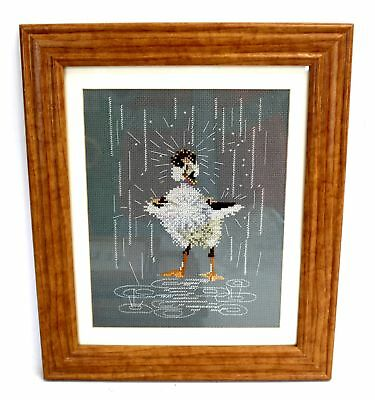 Large 'Little Duckling In The Rain' Embroidered CROSS-STITCH / FRAMED - S79