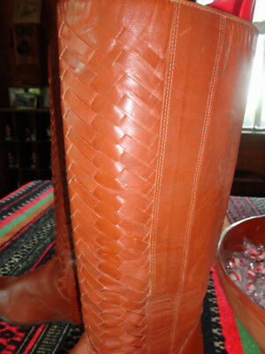 Vintage Hipster Rockabilly High Braided Cowboy Boots No Reserve