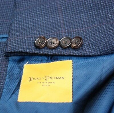"mint and recent HICKEY FREEMAN ""Beacon"" blue check plaid sport jacket 48L"