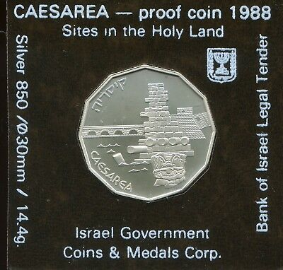 1988 Israel 1 New Sheqel Silver Proof Caesarea Sites in the Holy Land Commem.
