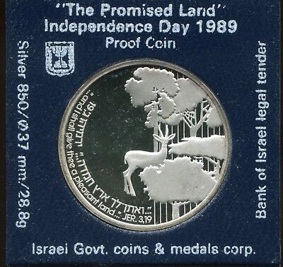 """1989 Israel 2 New Sheqalim Silver Proof """"The Promised Land"""" Independence Day"""