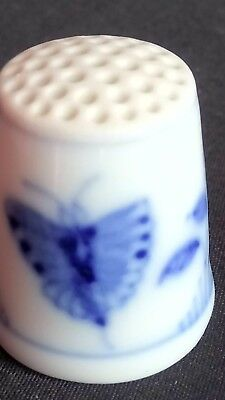 Butterfly Flowers Old Blue B & G Denmark Bone China Souvenir Thimble