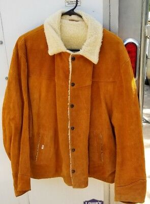 ~RARE~ LEVI'S BIG E Red Tab Suede Leather Buckskin SLIM FIT Sherpa Jacket 1960's