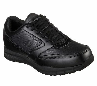 77235 Wide Fit Black Skechers shoe Women Work Memory Foam Comfort Slip Resistant