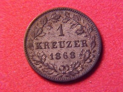 German States Wurttemberg 1 Kreuzer Silver 1868 Unc Toned