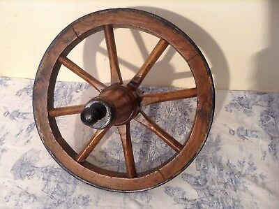 ANTIQUE WOODEN CART WAGON WHEEL - French Vintage Reclaimed Salvage (2670)