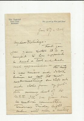 1904 GUTZON BORGLUM MT. Rushmore Sculptor Signed Letter to W. Ordway Partridge