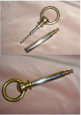 OLD ADVERTISING 2 PCS POCKET CORKSCREW HIDDEN IRON BARREL WORM w/ RING TO HANG