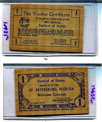 St Petersburg Florida 1950 Festival Of States  Wooden Nickel