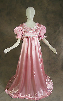 Rose 2 Piece Regency Jane Austen Style Satin Pink Ball Gown Costume 2X Cosplay
