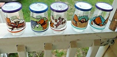 Welches Jelly Glass Vintage 1990s Winnie the Pooh Disney Set of 5 With Lids