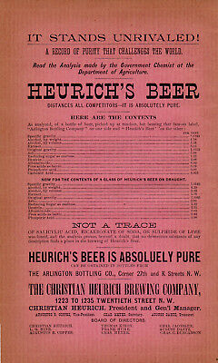 1892 Christian Heurich Brewery, Washington D.c. Color Heurich Beer Advertisement