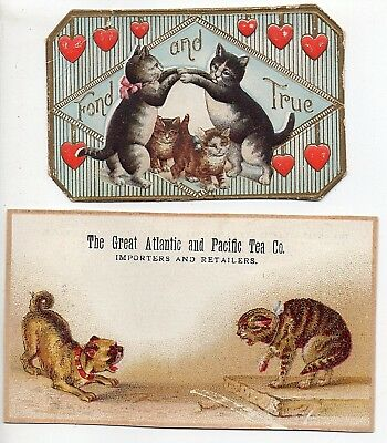 53747. Litho Cat Themed Great Atlantic & Pacific Tea Co Trade Card / Fond & True