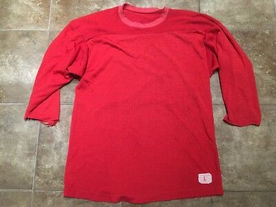 Vtg CHAMPION Sand Knit Football Jersey Distressed Red Size Large