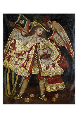 Military Archangel Original Colonial Cuzco Peru Folk Art Oil Painting On Canvas