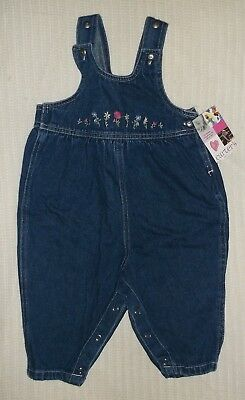 New Baby Girl's Carter's Jean Overalls One Piece Outfit 18M Embroidered Floral