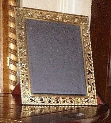 Vintage Ornate Brass Picture Frame Photo Flowers Vines Leaves Korea  8X10 Pic..A