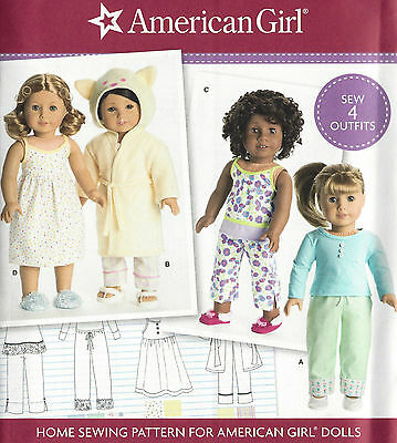 "18"" AMERICAN GIRL DOLL Pajamas Robe Gown Simplicity 8281 Sewing Pattern UNCUT"