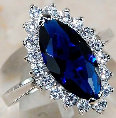 5CT Blue Sapphire & Topaz 925 Solid Genuine Sterling Silver Ring Jewelry Sz 6