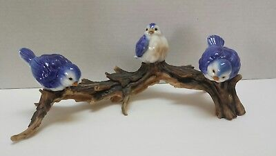 "Vintage Porcelain Bluebirds Blue Birds On 13"" Branch Plateau-Germany"