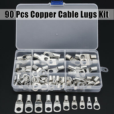 90Pcs 6mm-35mm Copper Cable Lugs Terminals SC Kit 4WD Battery Auto Marine Wire