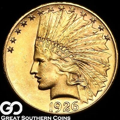 1926 Gold Eagle, $10 Gold Indian, Lustrous Beauty ** Free Shipping!