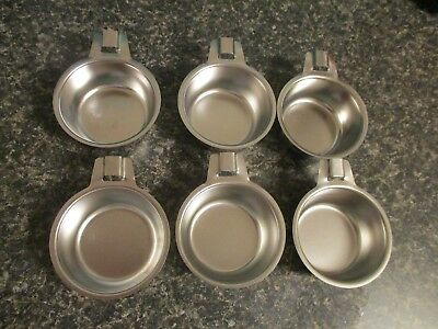 Lot of 6 Stainless Steel Poached Egg Cups with Handles Heavy Duty Flat Bottoms