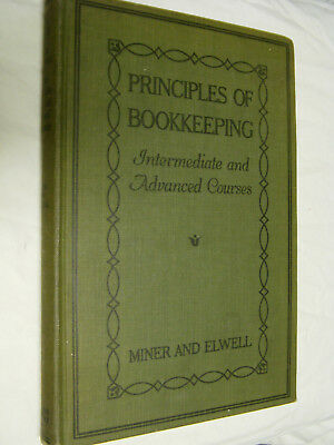 1918 Principles of Bookkeeping Elementary Course by Miner & Elwell Hardback
