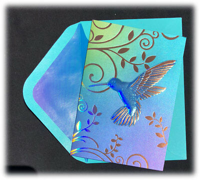 Papyrus Mary Leonard Iridescent Hummingbird Foil Accents Blank Note Card