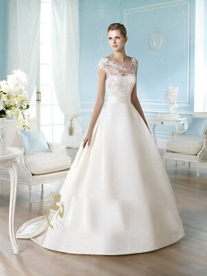 B2183 Custom Off White Satin Sexy Word Shoulder Wedding Long Dress All Size O