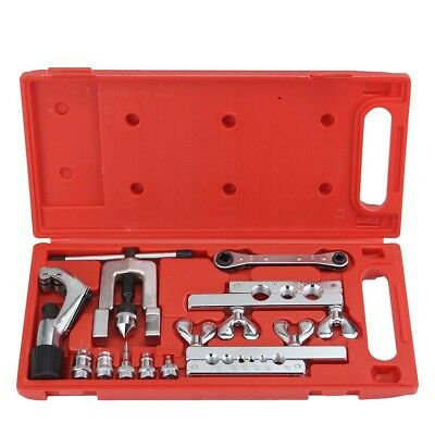 45° Flaring Swaging Tool Set Tube Cutter Pipe Repair Refrigeration Expander Case
