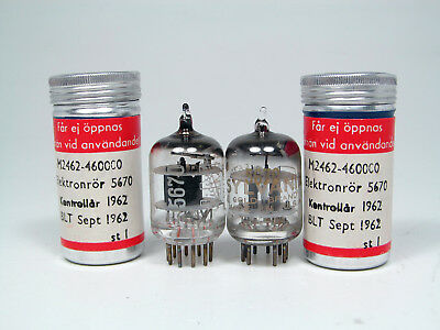2 x NOS BALANCED 5670-2C51-SYLVANIA/ERICSSON-FROM SEALED CANS-NICE GETTERS-1962