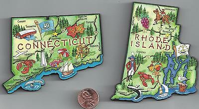 RHODE ISLAND and  CONNECTICUT  CT JUMBO   ARTWOOD STATE MAP MAGNET SET OF 2  NEW