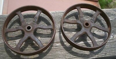 "Nice Pair Of Antique Cast Iron Wheels, 4 1/2"" - Clean - Solid - Marked W. & K."