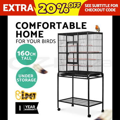i.Pet 160cm Bird Cage Parrot Aviary Pet Stand-alone Budgie Perch Wheels Castor L