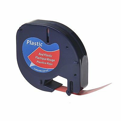 Compatible Dymo LETRATAG Plastic Label Tape 12mm x 4m Black on Red (91203)