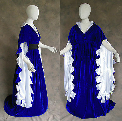 Blue Scalloped Renaissance Medieval Dress SCA Ren Faire Game of Thrones LOTR 4X