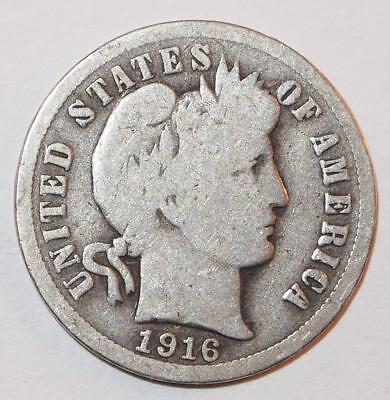 1916 BARBER LIBERTY HEAD Dime 10 Cents Ten Cent 90% Silver Coin