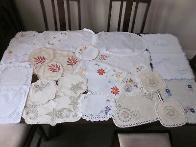 22 Vintage Hand Embroidered Doilies And Tablecentres
