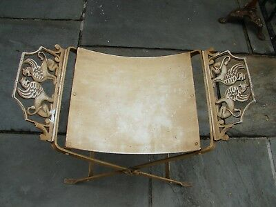 Art Deco Curule Vanity Bench with Winged Lion Griffins Cast Iron