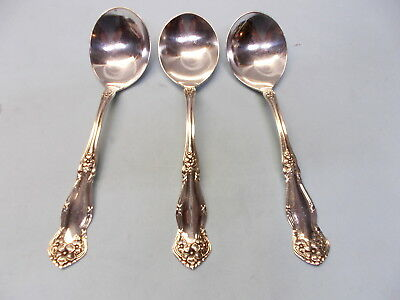 3 Arbutus Round Bowl Soup Spoons-So Ornate '08 Rogers Finest-Clean & Table Ready